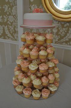 Piped Rose Cupcake Tower