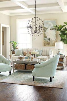 Beautiful coastal themed living room decorating ideas to make your home so cozy (9) #cozyhomedecor