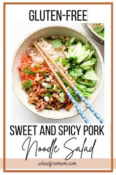 This gluten-free sweet and spicy pork noodle salad is the perfect meal in the summertime or anytime you want a lighter meal. It is jam packed with flavour, crunch and spice. I could eat this Vietnamese inspired meal every day. Salad Recipes Gluten Free, Meal Recipes, Light And Easy Meals, Pork Noodles, Cabbage Salad, Free Meal, Noodle Salad, Dinner Salads, Sweet And Spicy