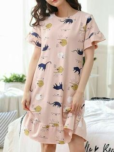 Night wear The Perfect Dress Pattern Article Body: Most girls and women love to wear dresses. Girls Fashion Clothes, Teen Fashion Outfits, Clothes For Women, Korean Girl Fashion, Korean Fashion Trends, Cute Lazy Outfits, Girly Outfits, Cute Pajama Sets, Cute Sleepwear
