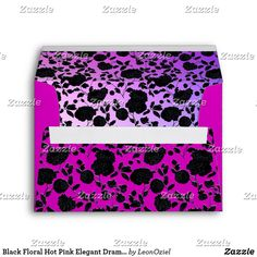 Shop Black Floral Hot Pink Elegant Dramatic Custom Envelope created by LeonOziel. Envelope Sizes, Custom Envelopes, Addressing Envelopes, Thank You Cards, Colorful Backgrounds, Hot Pink, Create Your Own, Stationery, Greeting Cards