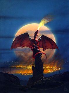 Moon Dragon   moondragon acrylics and watercolor on illustration board cover