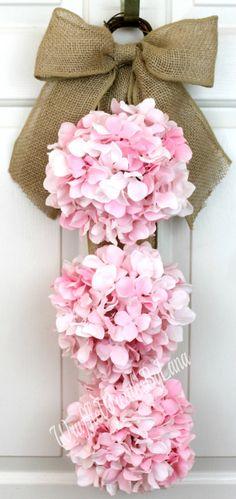 Pink Hydrangea Swag Spring Hydrangea Swag by WruffleWreathsbyLana