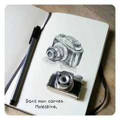 my camera - Isabelle Kessdjian Moleskine, Notebook Sketches, Camera Art, Design Art, Doodles, Sketchbooks, Instagram, Notebooks, Illustration