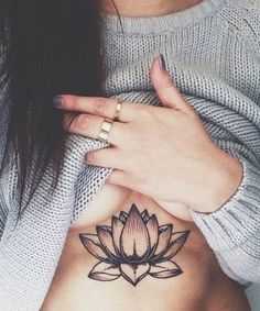 Lotus Floral Flower Underboob Tattoo Placement Ideas for Women at MyBodiArt.com