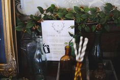 Winter Wedding Décor Ideas - Coloured Vintage Glass Bottles