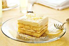 Citronové tiramisu 300 g tvarohu 250 g mascarpone 150 g moučkového cukru 150 g dlouhých piškotů 200 ml zakysané smetany 2 ks žloutků 2 ks vanilkového cukru Na citronový sirup: 80 ml citronového likéru 50 ml vody 3 lžičky instantní kávy 50 g moučkového cukru šťáva z 1 citronu