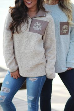 WE ❤️ Monogrammed Pullovers! Shop outerwear today! https://marleylilly.com/category/clothing/outerwear/