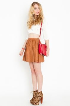 ivy league camel skirt and those jeffrey campbell shoes <3