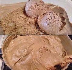 ΔΕΝ γίνετε πέτρα στην κατάψυξη παραμένει αφράτο!!! Βγάζουμε με τα υλικά αυτά 4 λίτρα χωρίς ανακάτεμα -χωρίς κρυσταλλάκια-μία κι έξω παγωτάκι σοκολάτα σπέσιαλ !! The Kitchen Food Network, Icebox Cake, Food Network Recipes, Icing, Deserts, Rolls, Food And Drink, Ice Cream, Sweets