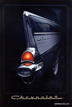 """This is a great poster for vintage car lovers. Helen Flint shows of the fin of black and chrome 57 Chevy. This poster is available in the size 15.5""""x21.5""""."""
