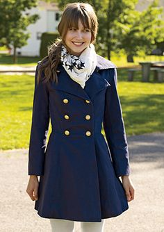 Navy Blue Double-breasted Pea Coat, love it! Wouldn't mind a shorter one but I want it well fitted to me for sure :)