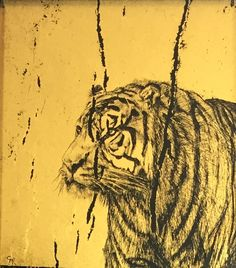 Tyger, Tyger...by Claire Russell 23ct gold leaf on glass 8x8cm
