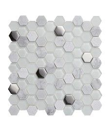 Information about Lunar™ Fusion White Tile Kitchen Wall Tiles, Wall And Floor Tiles, Black Tiles, White Tiles, Mosaic Glass, Mosaic Tiles, Cheap Renovations, Bathroom Tub Shower, Budget Bathroom Remodel