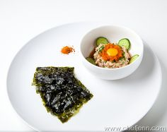 spicy hamachi tartare, nori sheets... i could do this left handed, blindfolded right now with all the quail eggs, nori, and custom pickles i have in my kitchen right now.. i may have to back this up, with some proper prep.