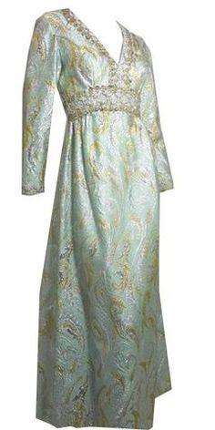 38da82ad4376bb Aqua and Gold Glam Matelasse Beaded Gown circa 1960s 70s Vintage Fashion