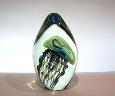 Robert Eickholt Glass Paperweight   Large Robert Eickholt Art Glass Jellyfish Sculpture or Paperweight