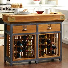 Love this idea.... Thinking about refurbishing some existing desk/buffet and adding this French Chef's Kitchen Island with Wine Racks concept!