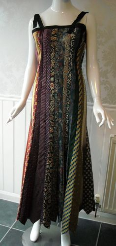unique multicoloured figure-hugging dress made from upcycled ties - must get down to the thrift store :D