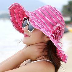 1797c185b2a7b Summer Women s Hat Fashion Folding Ventilation Sun Hats Travel Anti-UV  Beach Hat Wind Rope