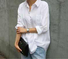Белая рубашка, голубые джинсы, white blouse, blue jeans, summer basics, parisian chic