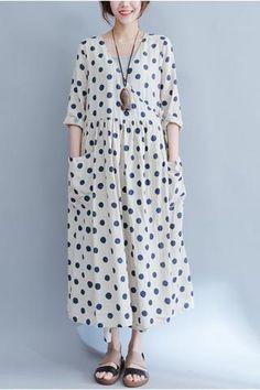 bae6a59328fb Big Pocket Blue Dot Loose Dresses Πατρόν Για Φορέματα
