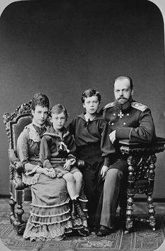Tsar Alexander III and Empress Marie Feodorovna with their sons Tsarevitch Nicholas and Grand Duke George