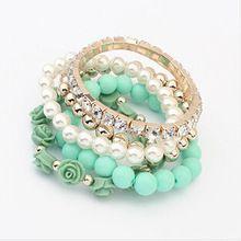 Stella dei monili 6 colori 2014 di nuovo modo di cristallo con perline fiore braccialetti di fascino braccialetti per le donne signore regalo(China (Mainland))