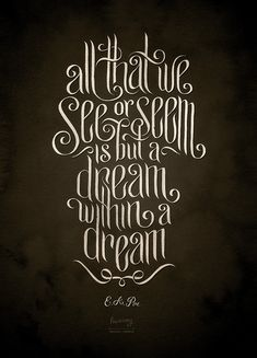 All that we see or seem is but a dream within a dream ~ Edgar Allen Poe