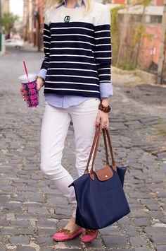 White Jean and Navy Longchamp