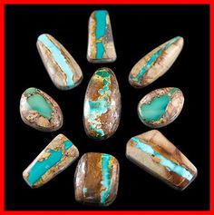 "Boulder or Ribbon Turquoise cabochons are cut from ""Saw Rock"" or Limeonite host rock with thin veins of Turquoise going through it. Gems And Minerals, Crystals Minerals, Stones And Crystals, Turquoise Stone, Turquoise Jewelry, Southwest Jewelry, Southwest Style, Crystal Collection, Jewelry Collection"