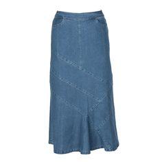 Helen Maxi Denim Skirt – newCreation Apparel Colored Denim, Blue Denim, Modest Long Skirts, Jeans Fabric, Jean Skirt, Black Media, Feminine, Denim Skirts, Stylish