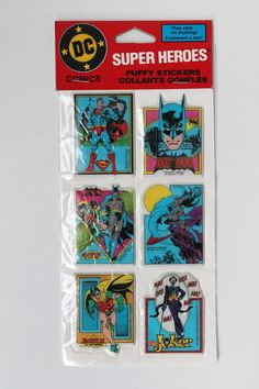 RARE Vintage DC Comics Puffy Batman Superman Joker Robin Stickers 1982