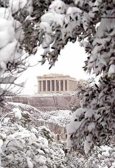 the Acropolis under the snow, Athens, Greece