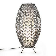 Gaia Lampe en rotin NOIR/BLANC H52cm