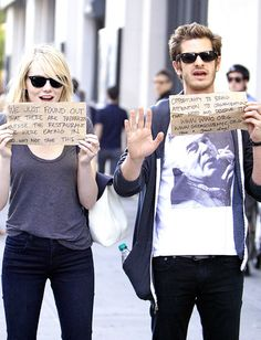 The amazing couple : Emma Stone and Andrew Garfield.
