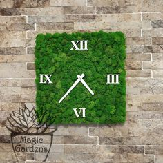 Green Office, Moss Wall, Garden Quotes, Plant Art, Wall Signs, Indoor Garden, Mother Nature, Diy And Crafts, Clock