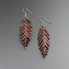 Corrugated Fold Formed Copper Leaf Earrings by johnsbrana on Etsy, $55.00