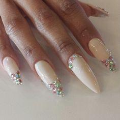 Stiletto Nails with Rhinestones   Rhinestone stiletto nails   My Style