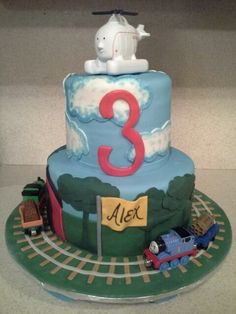 Thomas and Harold cake 2nd Birthday, Cakes, Desserts, Kids, Food, Tailgate Desserts, Young Children, Deserts, Boys