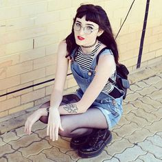 From the other day  #me#ootd#overalls#shortalls#dungarees#denim#stripes#croptop#tattoochoker#backpack#tights#drmartens#jadonboots#platforms#roundglasses#redlipstick#tattoos#ink#90s#grunge#edgy#hipster#alternative#indie#fashion#fashionblogger#nutkaic