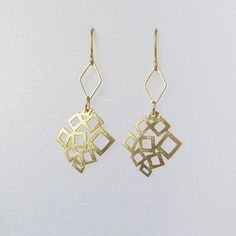Gold geometric earrings, diamond shaped earrings