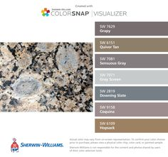 I found these colors with ColorSnap® Visualizer for iPhone by Sherwin-Williams: Grapy (SW 7629), Quiver Tan (SW 6151), Sensuous Gray (SW 7081), Gray Screen (SW 7071), Downing Slate (SW 2819), Coquina (SW 9158), Hopsack (SW 6109).