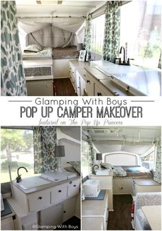 Pop Up Camper Makeover This is an amazing pop up camper remodel! I love the colors she chose. So calm and inviting.This is an amazing pop up camper remodel! I love the colors she chose. So calm and inviting. Kombi Motorhome, Truck Camper, Camper Life, Camper Van, Mini Camper, Rv Life, Pop Up Tent Trailer, Tent Trailers, Camping Trailers