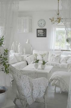 Living room white, living room decor, shabby chic living room, shabby c Shabby Chic Living Room, Shabby Chic Bedrooms, Shabby Chic Kitchen, Shabby Chic Homes, Shabby Chic Furniture, French Furniture, White Furniture, Cottage Chic, White Cottage