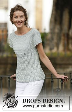 """Crochet DROPS top with fan pattern and round yoke, worked top down in """"Cotton Viscose"""". Size: S - XXXL. ~ DROPS Design"""