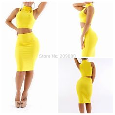 Hot sale women summer 2 Piece Bandage Bodycon club Dress Bow collar sleeveless high waist mid-calf sheath celebrity style dress