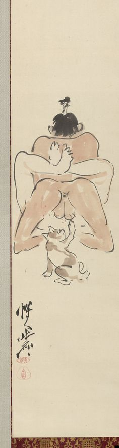 Kawanabe Kyōsai (1831–1889), detail from Three comic shunga paintings. Japan, c. 1871–1889. Hanging scrolls, ink and colour on paper. Israel Goldman collection.