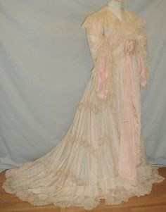 Magnificent 1890's Ivory Silk & Lace Lingerie Gown