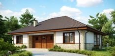 Dom w budowie One Floor House Plans, Floor Plans, Small House Living, Compact House, Cottage Plan, Home Fashion, Home Projects, Gazebo, Sweet Home